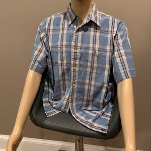 Men's short sleeve button down shirt.